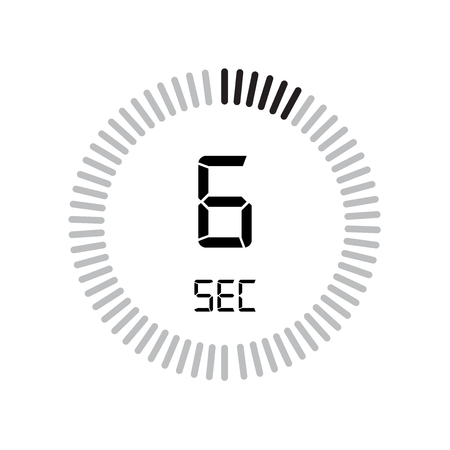 The 6 seconds icon, digital timer. clock and watch, timer, countdown symbol isolated on white background, stopwatch vector icon