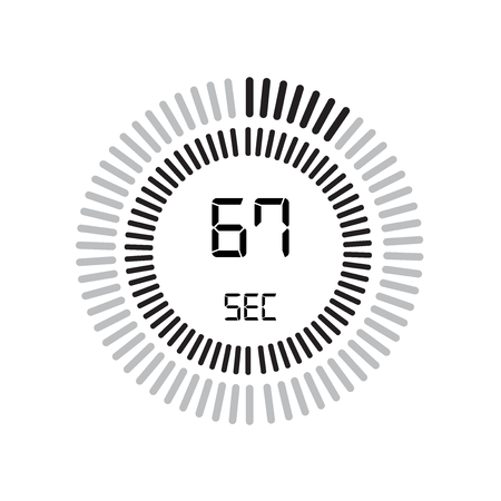 The 67 seconds icon, digital timer. clock and watch, timer, countdown symbol isolated on white background, stopwatch vector icon Illustration
