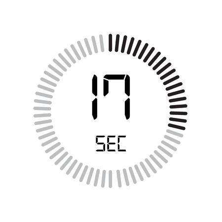 L'icona dei 17 secondi, timer digitale. orologio e orologio, timer, simbolo del conto alla rovescia isolato su sfondo bianco, icona del vettore del cronometro