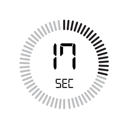 The 17 seconds icon, digital timer. clock and watch, timer, countdown symbol isolated on white background, stopwatch vector icon