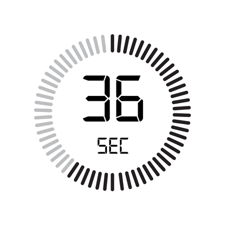 The 36 seconds icon, digital timer. clock and watch, timer, countdown symbol isolated on white background, stopwatch vector icon 向量圖像