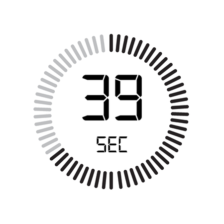 The 39 seconds icon, digital timer. clock and watch, timer, countdown symbol isolated on white background, stopwatch vector icon