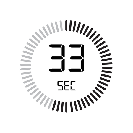 The 33 seconds icon, digital timer. clock and watch, timer, countdown symbol isolated on white background, stopwatch vector icon