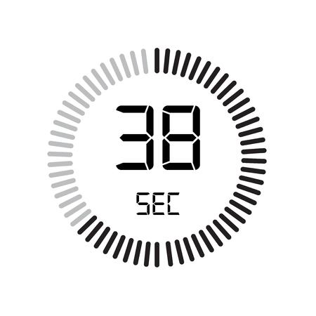 L'icona di 38 secondi, timer digitale. orologio e orologio, timer, simbolo del conto alla rovescia isolato su sfondo bianco, icona di vettore del cronometro
