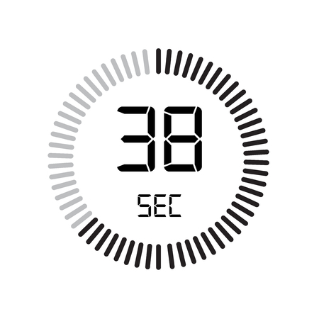 The 38 seconds icon, digital timer. clock and watch, timer, countdown symbol isolated on white background, stopwatch vector icon