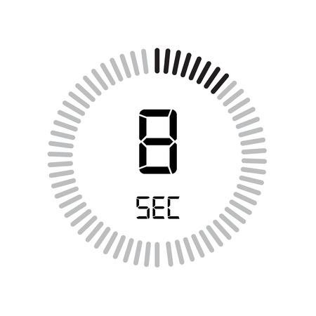 L'icona di 8 secondi, timer digitale. orologio e orologio, timer, simbolo del conto alla rovescia isolato su sfondo bianco, icona del vettore del cronometro