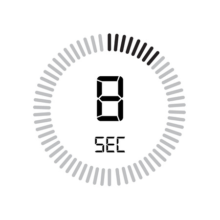 The 8 seconds icon, digital timer. clock and watch, timer, countdown symbol isolated on white background, stopwatch vector icon Stock Illustratie