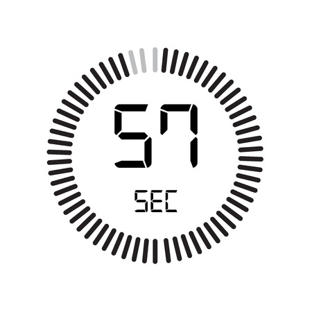 The 57 seconds icon, digital timer. clock and watch, timer, countdown symbol isolated on white background, stopwatch vector icon