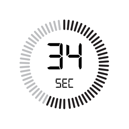 The 34 seconds icon, digital timer. clock and watch, timer, countdown symbol isolated on white background, stopwatch vector icon