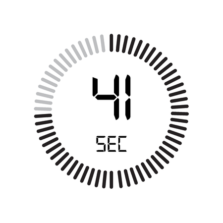 The 41 seconds icon, digital timer. clock and watch, timer, countdown symbol isolated on white background, stopwatch vector icon