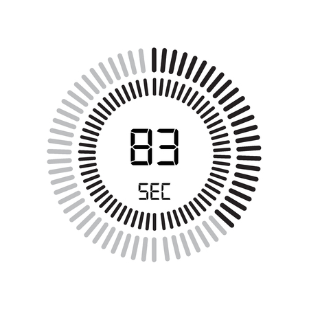 The 83 seconds icon, digital timer. clock and watch, timer, countdown symbol isolated on white background, stopwatch vector icon