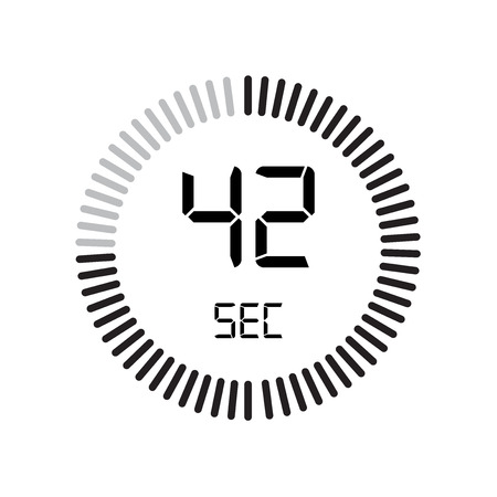 The 42 seconds icon, digital timer. clock and watch, timer, countdown symbol isolated on white background, stopwatch vector icon