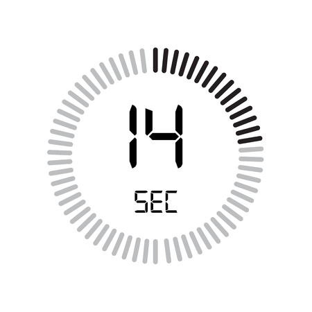 The 14 seconds icon, digital timer. clock and watch, timer, countdown symbol isolated on white background, stopwatch vector icon 向量圖像
