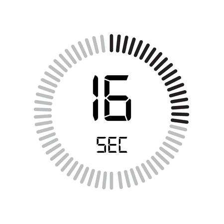 L'icona di 16 secondi, timer digitale. orologio e orologio, timer, simbolo del conto alla rovescia isolato su sfondo bianco, icona di vettore del cronometro Vettoriali