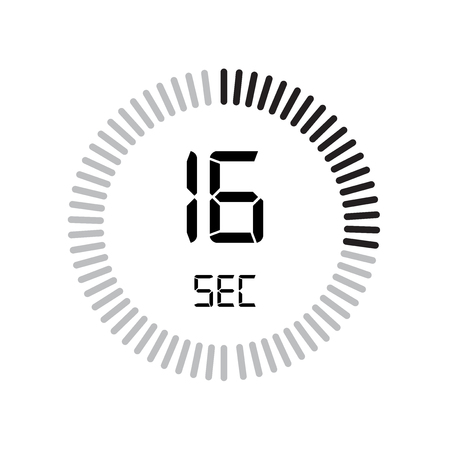 The 16 seconds icon, digital timer. clock and watch, timer, countdown symbol isolated on white background, stopwatch vector icon 向量圖像