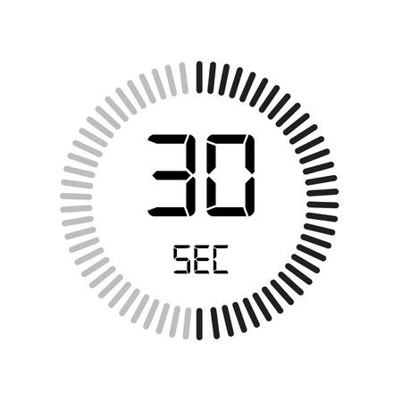 L'icona di 30 secondi, timer digitale. orologio e orologio, timer, simbolo del conto alla rovescia isolato su sfondo bianco, icona di vettore del cronometro Vettoriali