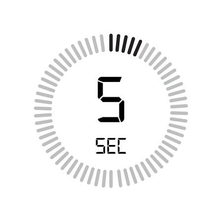 L'icona di 5 secondi, timer digitale. orologio e orologio, timer, simbolo del conto alla rovescia isolato su sfondo bianco, icona di vettore del cronometro