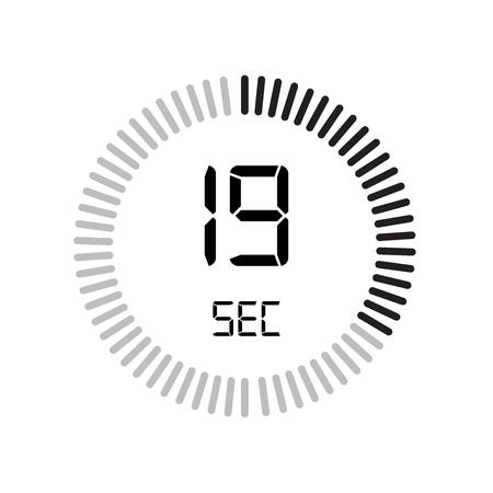 L'icona di 19 secondi, timer digitale. orologio e orologio, timer, simbolo del conto alla rovescia isolato su sfondo bianco, icona di vettore del cronometro