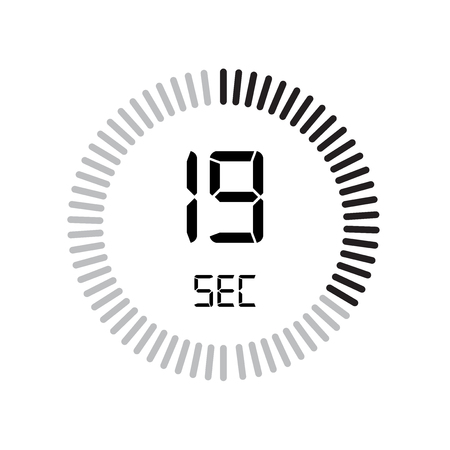 The 19 seconds icon, digital timer. clock and watch, timer, countdown symbol isolated on white background, stopwatch vector icon