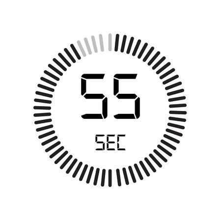 L'icona di 55 secondi, timer digitale. orologio e orologio, timer, simbolo del conto alla rovescia isolato su sfondo bianco, icona di vettore del cronometro Vettoriali
