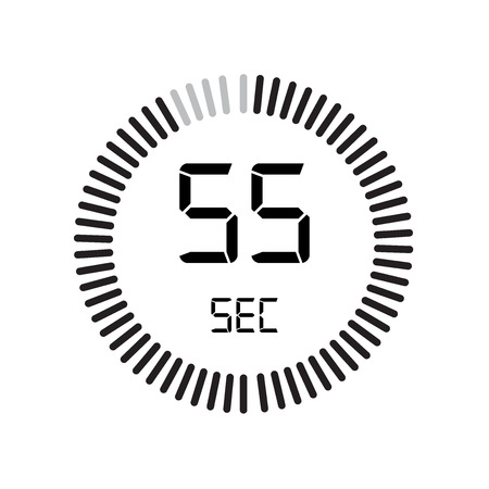 The 55 seconds icon, digital timer. clock and watch, timer, countdown symbol isolated on white background, stopwatch vector icon