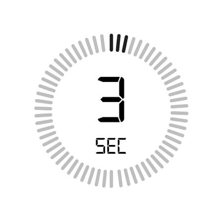 L'icona dei 3 secondi, timer digitale. orologio e orologio, timer, simbolo del conto alla rovescia isolato su sfondo bianco, icona del vettore del cronometro