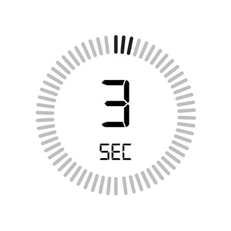 The 3 seconds icon, digital timer. clock and watch, timer, countdown symbol isolated on white background, stopwatch vector icon Ilustração