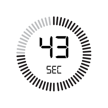 The 43 seconds icon, digital timer. clock and watch, timer, countdown symbol isolated on white background, stopwatch vector icon