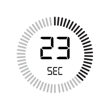 L'icona dei 23 secondi, timer digitale. orologio e orologio, timer, simbolo del conto alla rovescia isolato su sfondo bianco, icona del vettore del cronometro