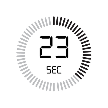 The 23 seconds icon, digital timer. clock and watch, timer, countdown symbol isolated on white background, stopwatch vector icon