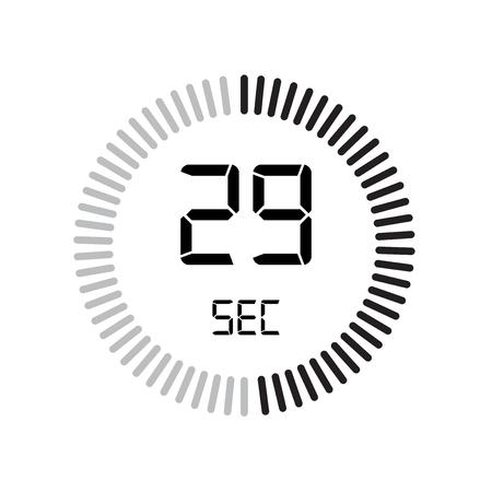 L'icona 29 secondi, timer digitale. orologio e orologio, timer, simbolo del conto alla rovescia isolato su sfondo bianco, icona del vettore del cronometro Vettoriali