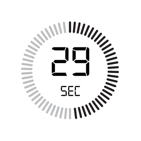 The 29 seconds icon, digital timer. clock and watch, timer, countdown symbol isolated on white background, stopwatch vector icon 向量圖像