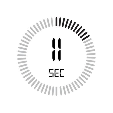 L'icona degli 11 secondi, timer digitale. orologio e orologio, timer, simbolo del conto alla rovescia isolato su sfondo bianco, icona del vettore del cronometro Vettoriali