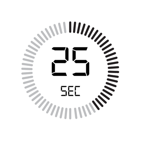 The 25 seconds icon, digital timer. clock and watch, timer, countdown symbol isolated on white background, stopwatch vector icon