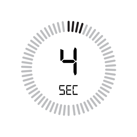 The 4 seconds icon, digital timer. clock and watch, timer, countdown symbol isolated on white background, stopwatch vector icon