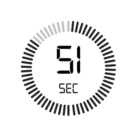 The 51 seconds icon, digital timer. clock and watch, timer, countdown symbol isolated on white background, stopwatch vector icon Vettoriali