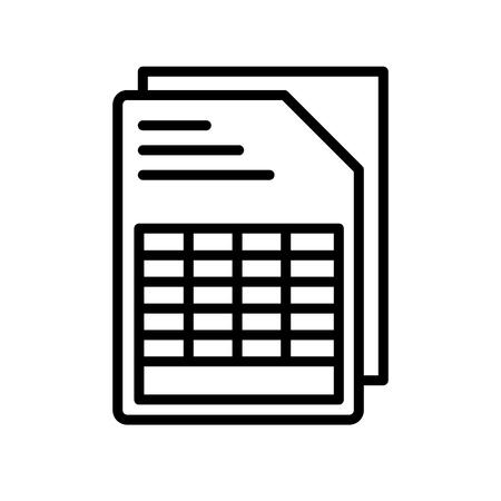 Documento con vector icono de tablas aislado sobre fondo blanco para su diseño web y aplicaciones móviles Ilustración de vector