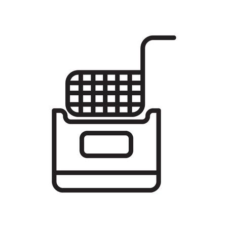 Icono de freidora aislado sobre fondo blanco para su diseño web y aplicaciones móviles
