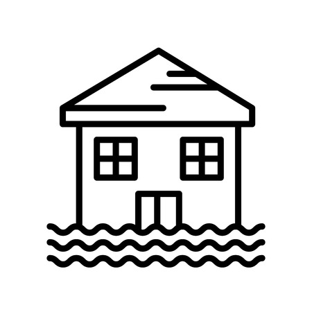 Flooded house icon isolated on white background for your web and mobile app design Ilustração