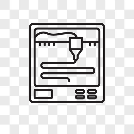 3d printer vector icon isolated on transparent background, 3d printer logo concept Standard-Bild - 107598277