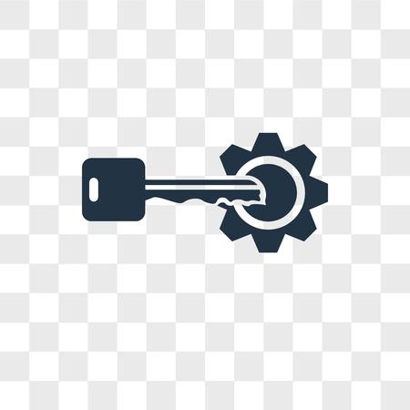 Icône de vecteur clé isolé sur fond transparent, concept logo clé Logo