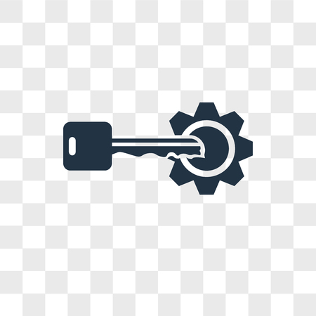 Key vector icon isolated on transparent background, Key logo concept Vettoriali
