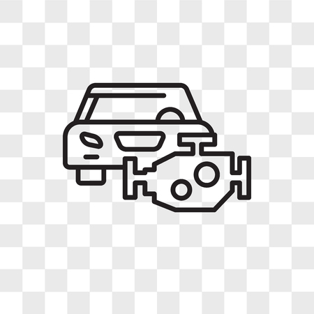 Car engine vector icon isolated on transparent background, Car engine logo concept 矢量图像