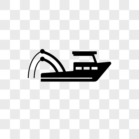 Fishing boat vector icon isolated on transparent background, Fishing boat logo concept