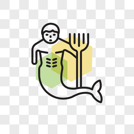 Merman vector icon isolated on transparent background, Merman logo concept