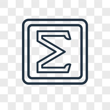 Sigma vector icon isolated on transparent background, Sigma logo concept