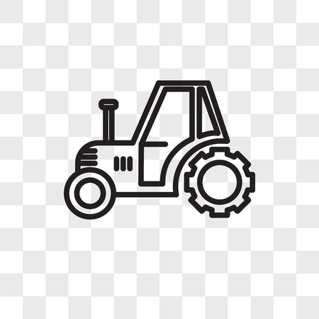 Tractor vector icon isolated on transparent background, Tractor logo concept Vettoriali