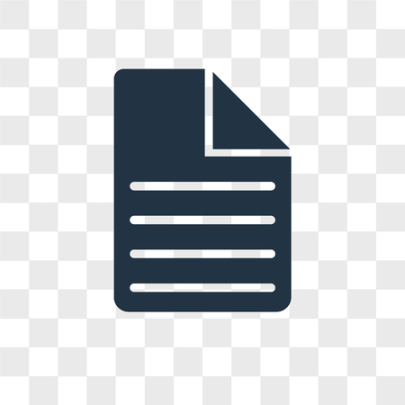 Document vector icon isolated on transparent background, Document logo concept