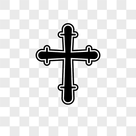 Christian Cross vector icon isolated on transparent background, Christian Cross logo concept