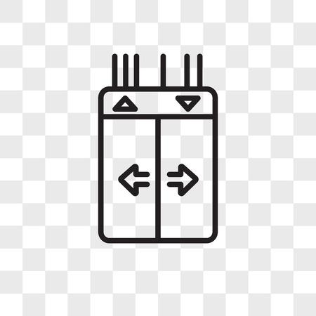 Icono de vector de ascensor aislado sobre fondo transparente, concepto de logo de ascensor